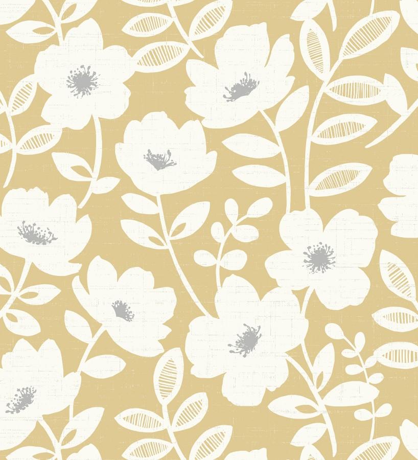 Papel pintado de flores blancas fondo amarillo mostaza Capitol Garden 680944