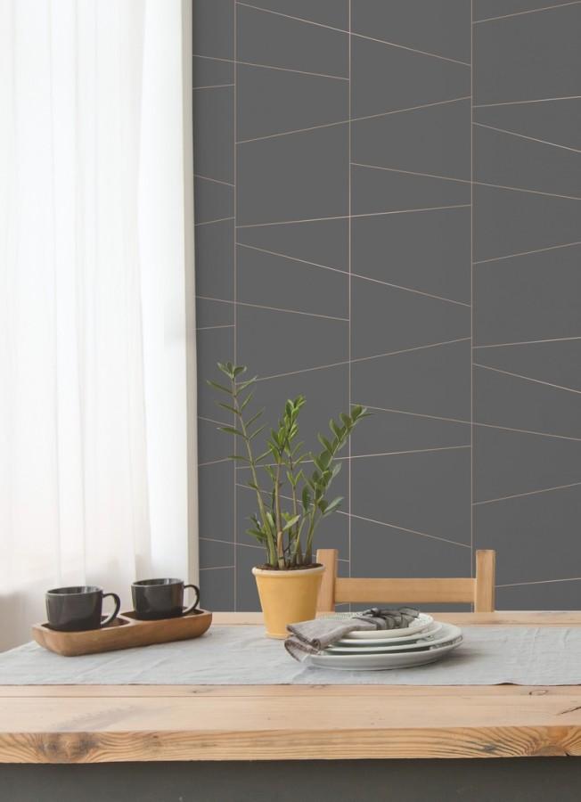 Papel pintado geométrico lineas metalizadas estilo Art déco Luxury Lines 680950
