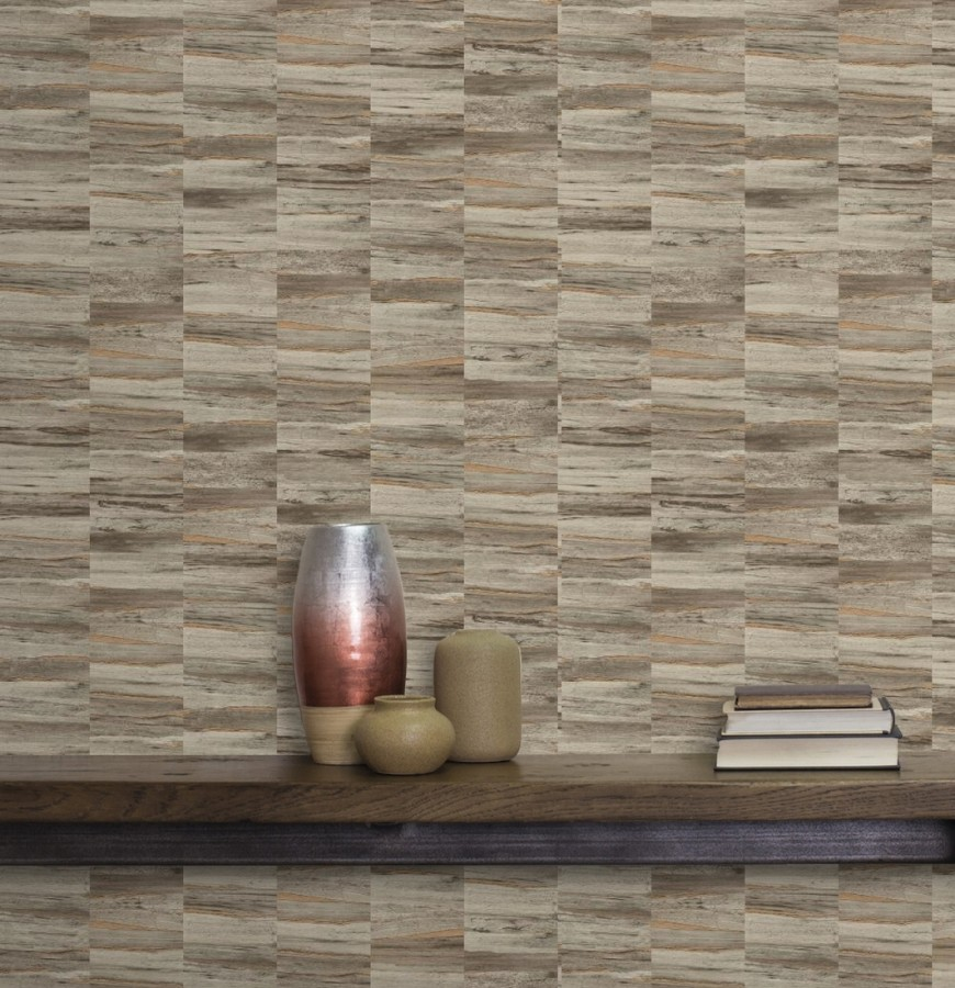 Papel pintado mosaico efecto madera a rayas Oxford Stone 679319