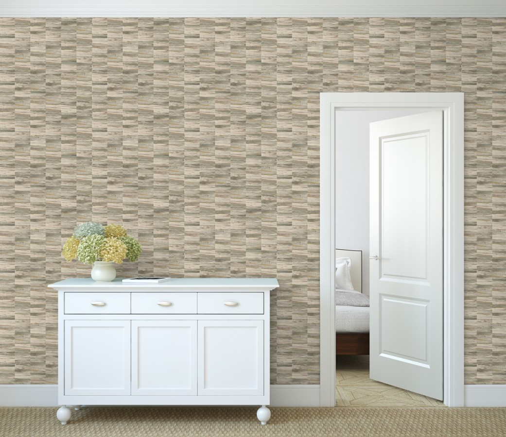 Papel pintado mosaico efecto madera a rayas Oxford Stone 679320