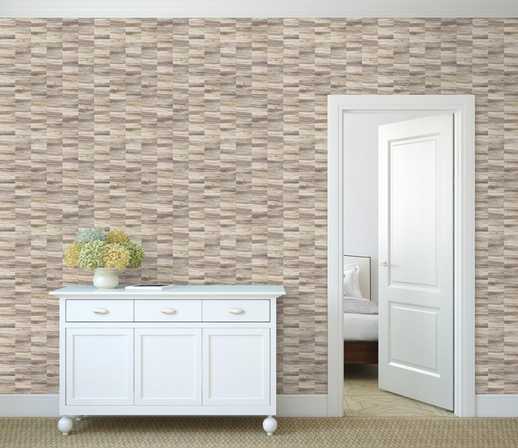 Papel pintado mosaico efecto madera a rayas Oxford Stone 679322