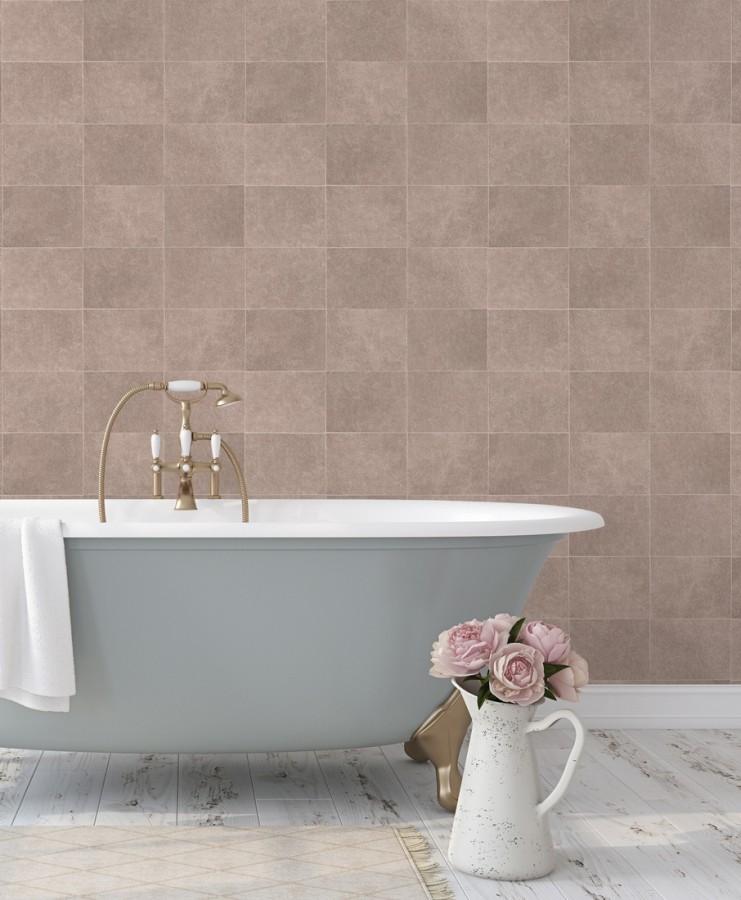 Papel pintado azulejo rosado palido texturizado Bergamo 679327