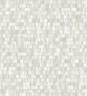 Papel pintado mosaico tonos blancos efecto madera Nantes Stone 679337