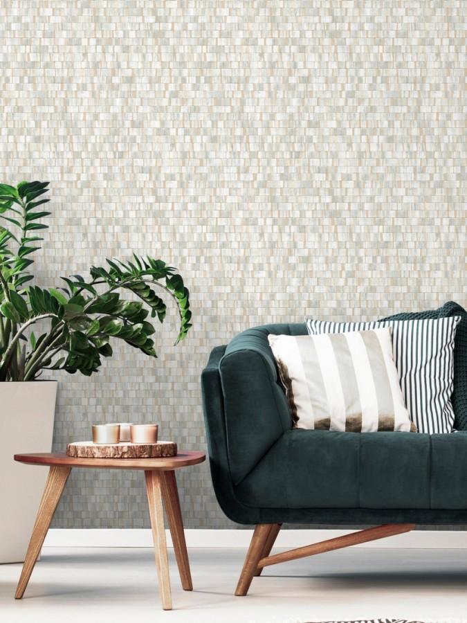 Papel pintado mosaico gris efecto madera con vetas doradas Nantes Stone 679339