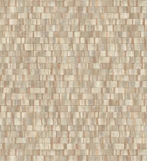 Papel pintado mosaico tonos beige oscuro efecto madera Nantes Stone 679340