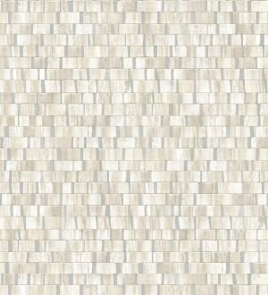 Papel pintado mosaico tonos beige efecto madera con vetas plata Nantes Stone 679341