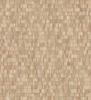 Papel pintado mosaico tonos marrones efecto madera con vetas cobre Nantes Stone 679342
