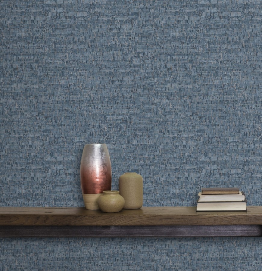 Papel pintado imitación corcho texturizado tonos azules Mileto 679350