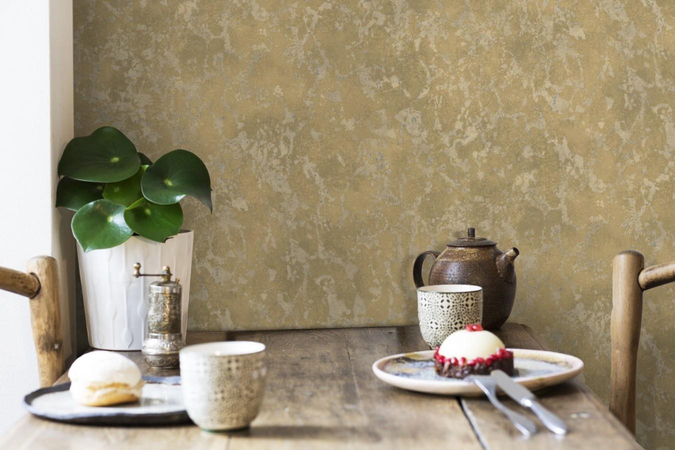 Papel pintado estuco veneciano liso con vetas rugosas Travis Stone 679351