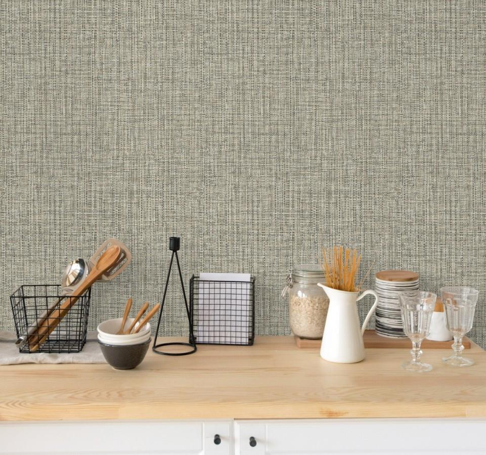 Papel pintado con textura textil tonos grises oscuros y claros Tamil Fabric 679356