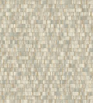 Papel pintado mosaico tonos verdes efecto madera con vetas doradas Nantes Stone 679374