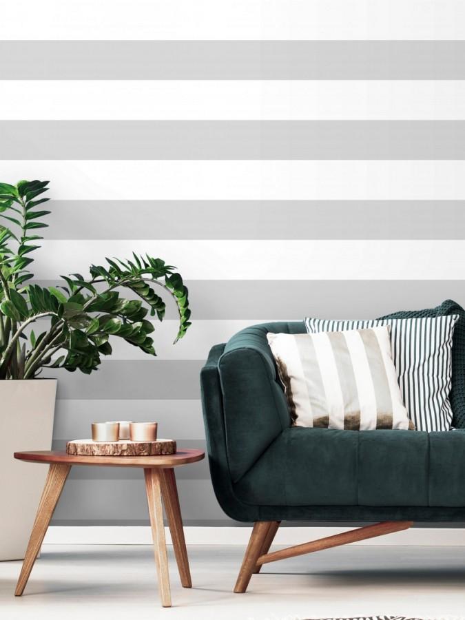 Papel pintado de rayas horizontales grises y blancas Raya Lancaster FL 680216