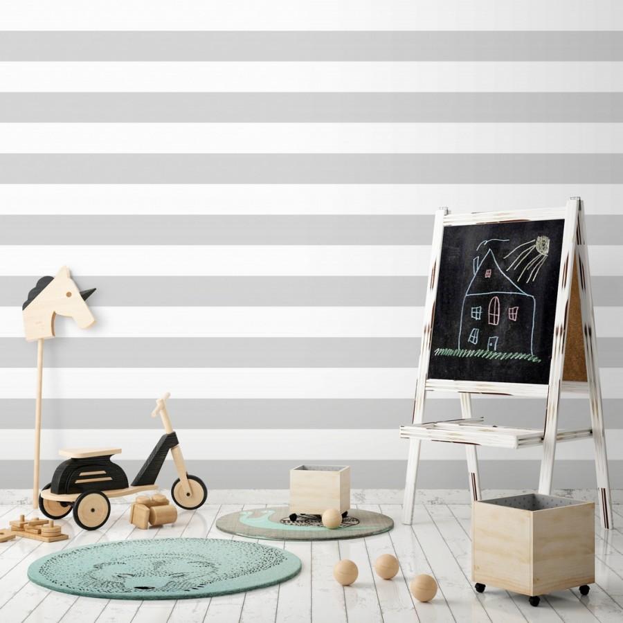 Papel pintado infantil de rayas horizontales grises y blancas Raya Piccolo FL 680218