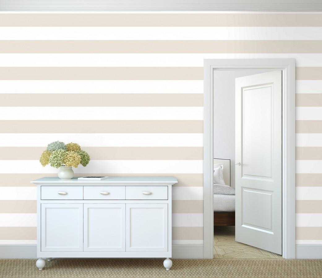 Papel pintado de rayas horizontales beige y blancas Raya Lancaster FL 680222