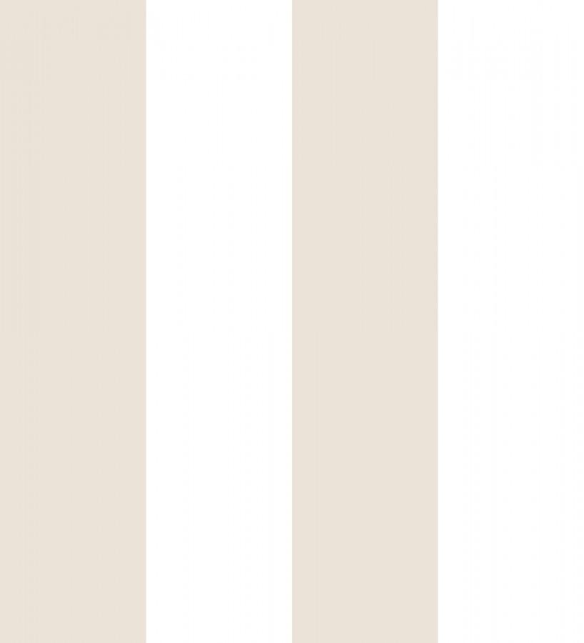 Papel pintado infantil de rayas anchas beige y blancas Raya Silky 680225