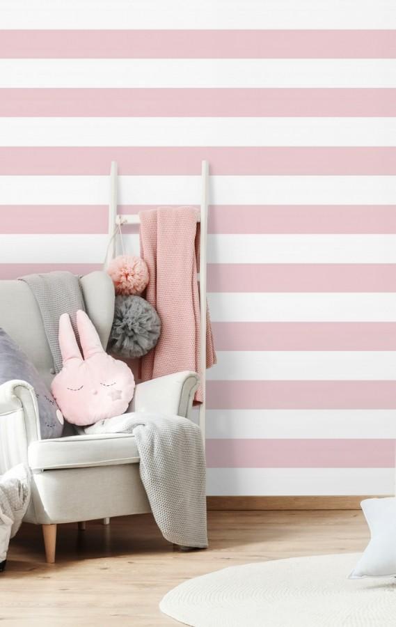 Papel pintado infantil de rayas horizontales rosas y blancas Raya Piccolo FL 680228