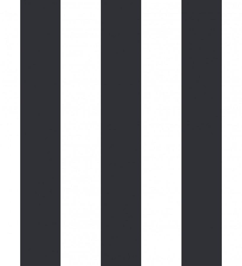 Papel pintado de rayas negras y blancas Raya Lancaster 680233