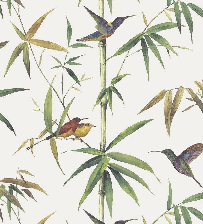 Papel pintado tropical con pájaros y hojas Guinea Tropical 124175