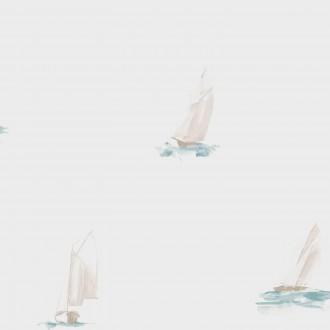 Papel pintado veleros de acuarela agua marina grisáceo Ourang 230122