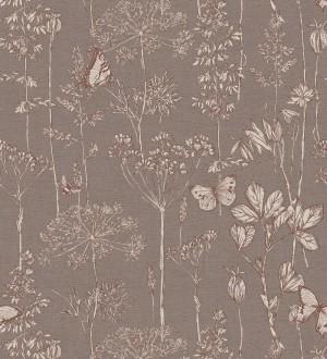 Papel pintado ramas y mariposas tonos marrones Milton Fields 126312