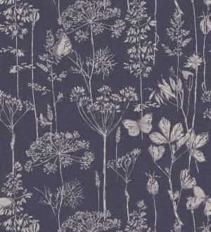 Papel pintado ramas y mariposas azul marino Milton Fields 126313