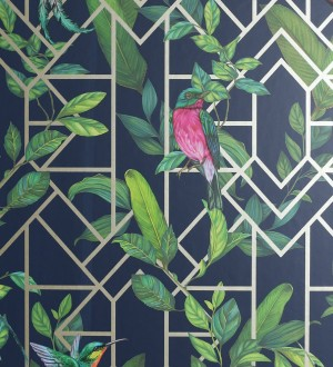 Papel pintado loros y hojas sobre celosía estilo tropical Jungle Mirror 126316