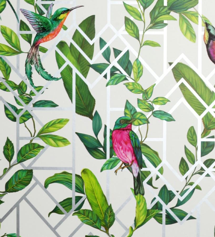 Papel pintado loros y hojas sobre celosía estilo tropical Jungle Mirror 126317