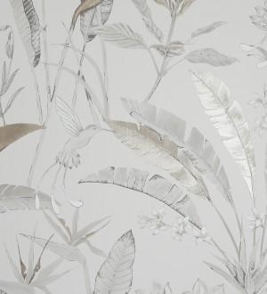 Papel pintado hojas y pájaros en tonos claros Aberdeen Forest 126318