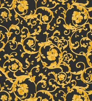 Papel pintado volutas doradas fondo negro de Versace Caprice Royal 126323