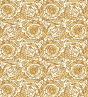 Papel pintado volutas de oro fondo blanco de Versace Valerio Rosso 126343