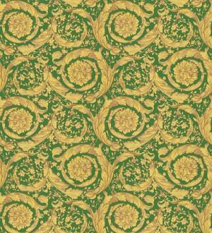 Papel pintado volutas de oro fondo verde de Versace Valerio Rosso 126344