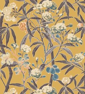 Papel pintado de hojas con flores y frutos Kendra Bloom 126388