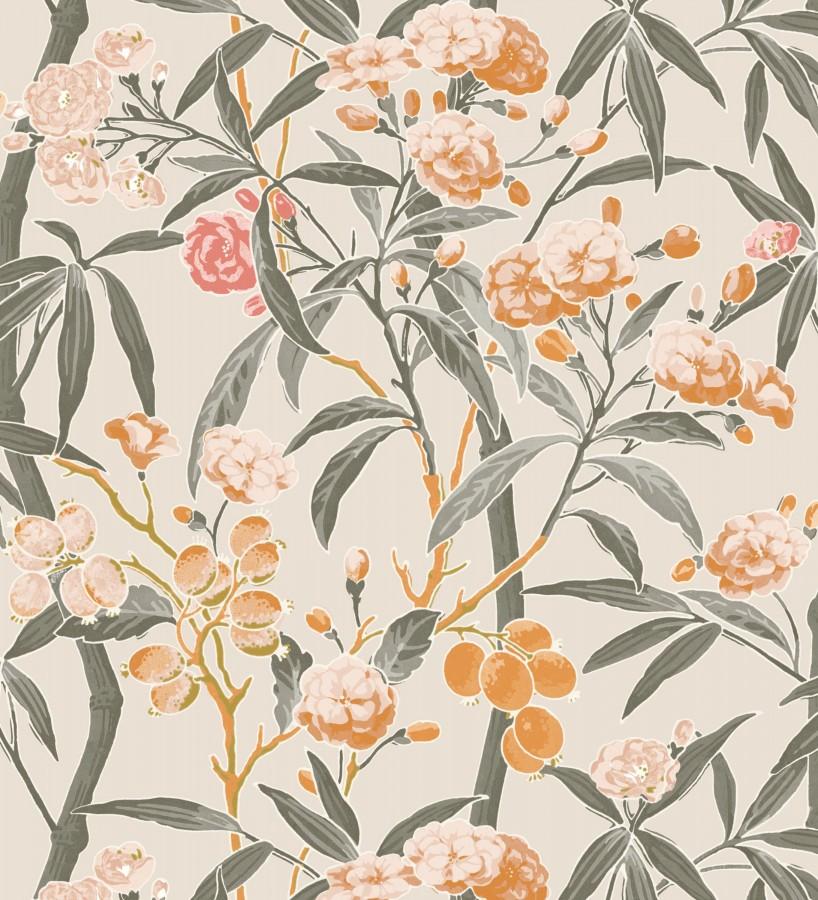 Papel pintado de hojas con flores y frutos Kendra Bloom 126389