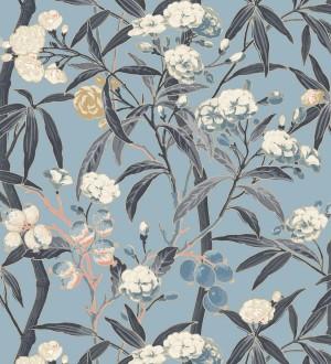Papel pintado de hojas con flores y frutos Kendra Bloom 126391