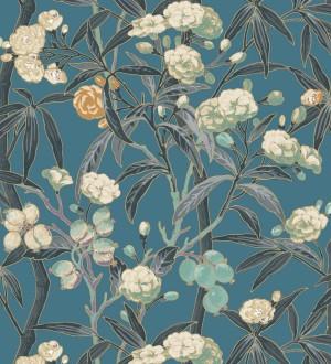 Papel pintado de hojas con flores y frutos Kendra Bloom 126392