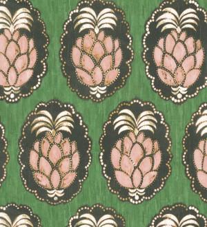 Papel pintado piñas art déco Hawaii Fruits 126398