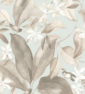 Papel pintado hojas grandes con pájaros Secret Garden 126399