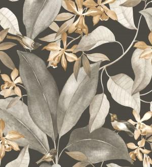 Papel pintado hojas grandes con pájaros Secret Garden 126401