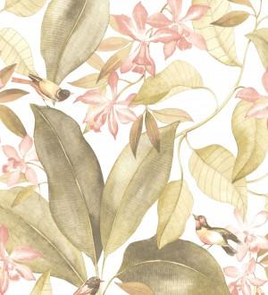 Papel pintado hojas grandes con pájaros Secret Garden 126402