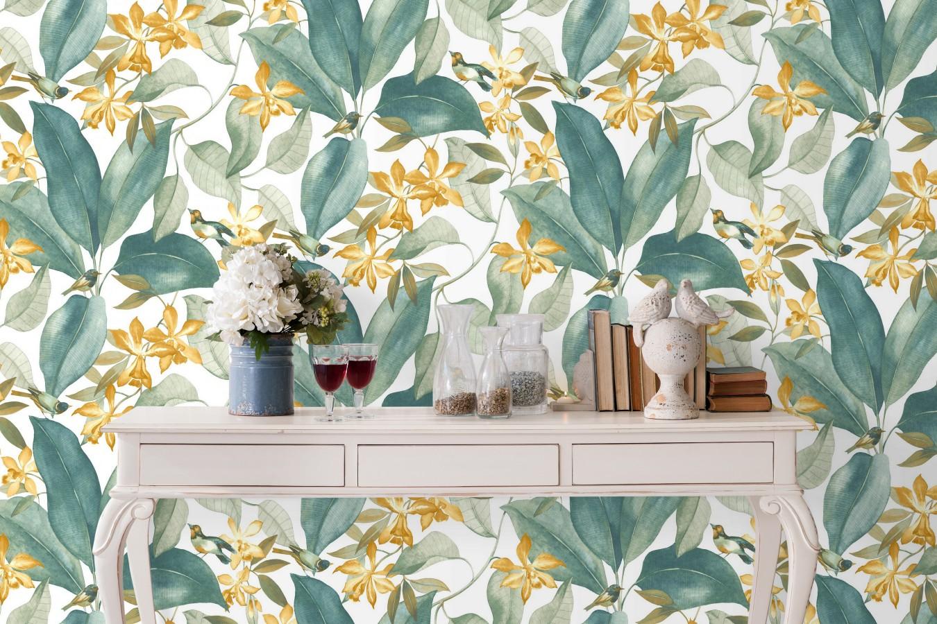 Papel pintado hojas grandes con pájaros Secret Garden 126403
