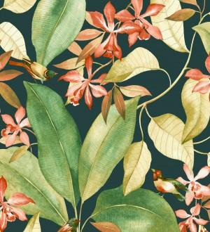 Papel pintado hojas grandes con pájaros Secret Garden 126404