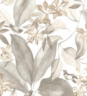 Papel pintado hojas grandes con pájaros Secret Garden 126405