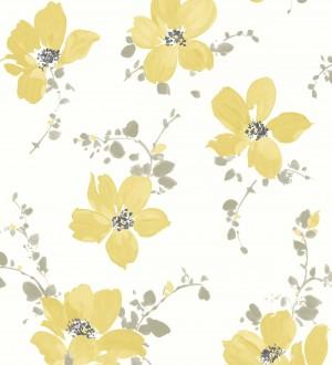 Papel pintado flores grandes amarillas Ivory Flowers 126462