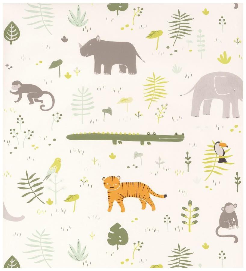Papel pintado infantil animales africanos Safari Fun 126509