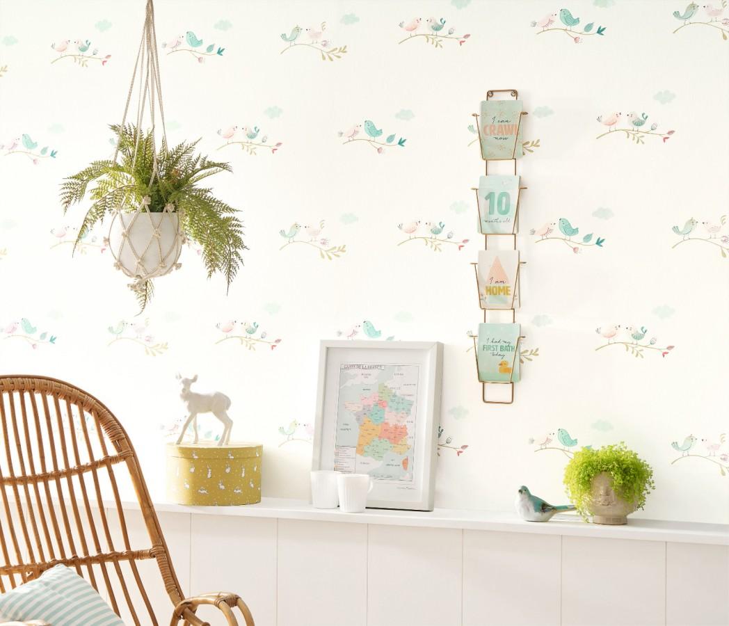 Papel pintado infantil de pajaritos Sweet Birds 126623