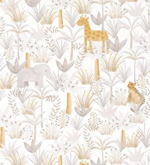 Papel pintado infantil elefantes, tigres y jirafas en la vegetación Little Zoo 126628
