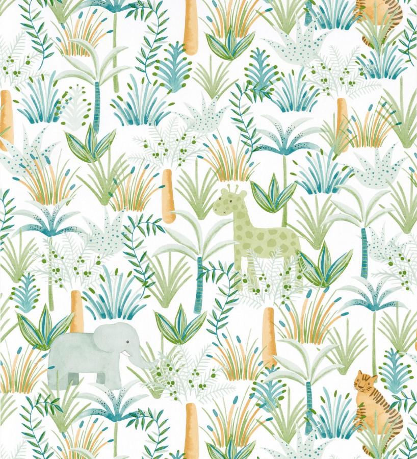 Papel pintado infantil elefantes, tigres y jirafas en la vegetación Little Zoo 126629