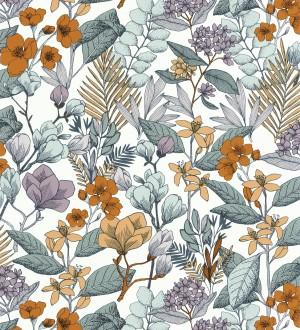 Papel pintado flores y hojas artísticas Madison Country 126655