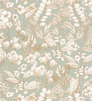 Papel pintado flores y hojas artísticas Madison Country 126656