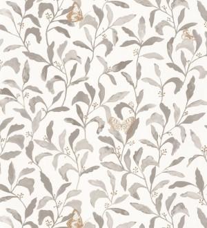 Papel pintado hojas y mariposas tonos visón Monet Country 126759